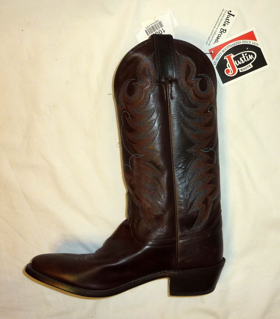 Justin 1569 Size 8.5D 13  Mens Testa Torino Leather Western Cowboy Boots BROWN