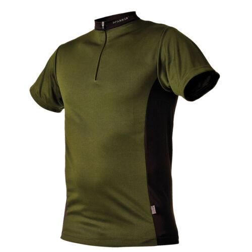PFANNER Zipp-Neck Shirt grün kurzarm T-Shirt Hemd Funktionsshirt Forst Cocona