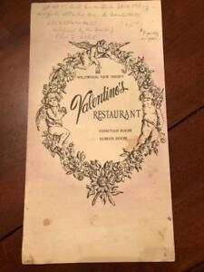 Details about Old Restaurant Menu- Valentino's Restaurant, Wildwood, New  Jersey