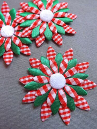 GREEN CHRISTMAS TREES star trim wraping sewing snowball white lace xmas Flower