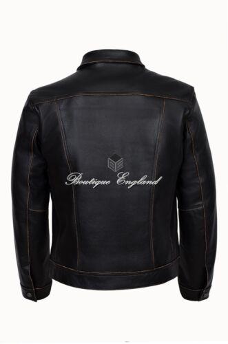 "Men/'s /""TRUCKER/"" Black Rub off CowHide Casual Denim Style LEATHER Jacket 1280"
