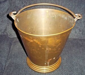 "Hearth Ware Fine Large Antique Brass Cauldron Bucket With Handle 10 1/2"" Tall X 11"" Wide Ample Supply And Prompt Delivery Home & Hearth"