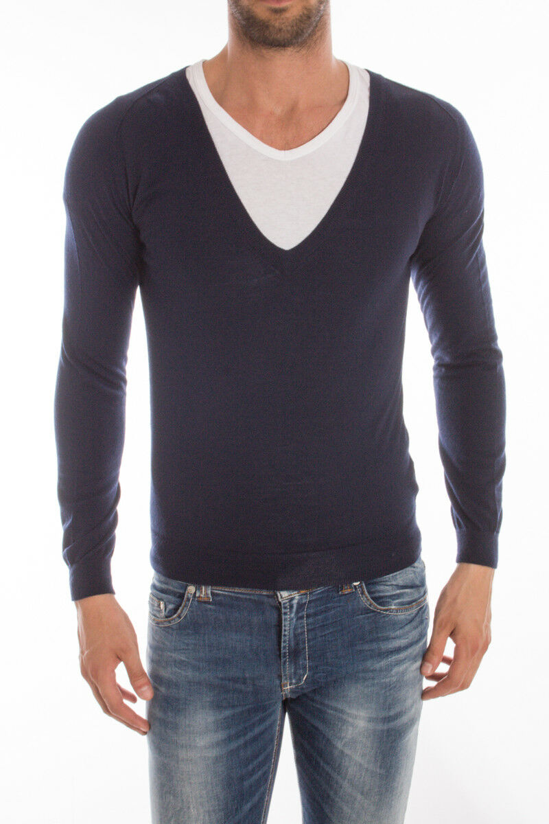 Maglia Daniele Alessandrini Sweater A/I Lana  Herren Blu FM52121AR3405 306