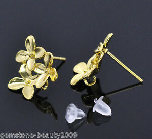 Wholesale-HOT-Gold-Plated-Flower-Earring-Post-W-Stopper-15x14mm-B09331
