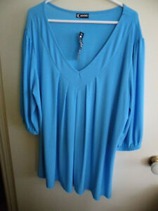 BRAND-NEW-CANTO-WOMENS-STRETCH-TUNIC-TOP-SHORT-SLEEVE-2X-TURQUOISE