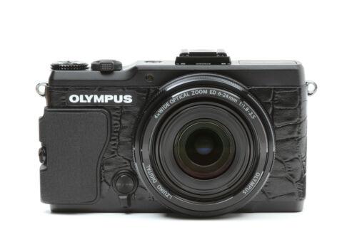 Cuero de decoración Pegatinas de cámara para Olympus Stylus XZ-2 Cocodrilo Negro Tipo