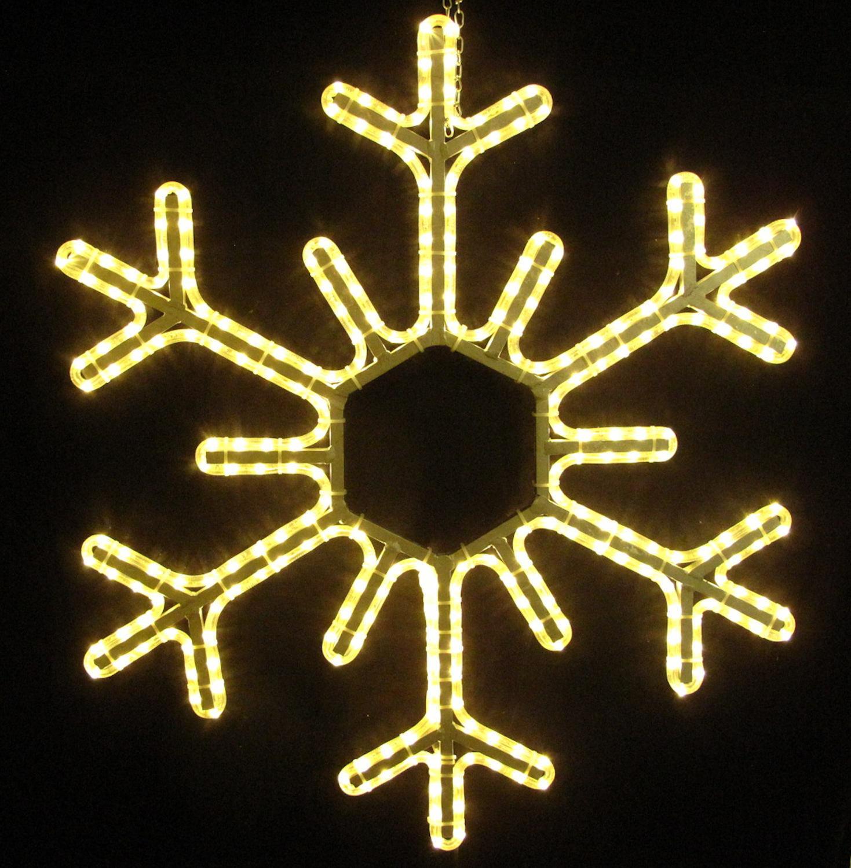 LED Schneeflocke Eiskristall Eisflocke 95 cm mit warmweissen LED Lichtschlauch