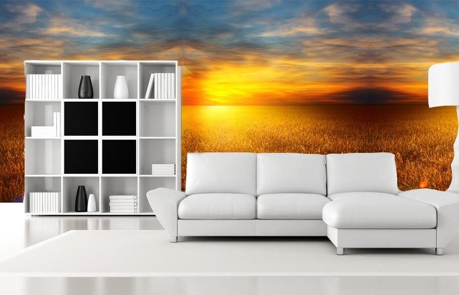 3D Tramonto Mare Parete Murale Foto Carta da parati immagine sfondo muro stampa