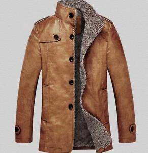 Mens-Thicken-Fleece-Jacket-Trench-PU-Leather-Winter-Fur-Lined-Parka-Jacket-Warm