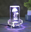 """thumbnail 1 - 3"""" Led Light Multicolor Mirror Plate Clear Crystal Glass Display Base Stand"""