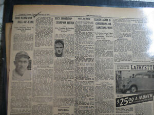 Baseball Ty Cobb Newspaper NAMED FOR HALL OF FAME  + AUTO LAFAYETTE CAR AD
