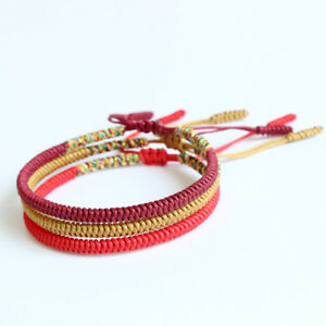 29691f06df2b6 Image is loading Handmade-Tibetan-Buddhist-Braided-Bracelet-Lucky-Knot-Rope-