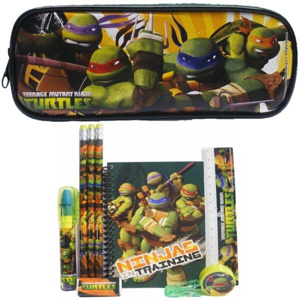 (10ct) Teenage Mutant Ninja Turtles Ragazzi Set Cancelleria + Matita Sacchetto