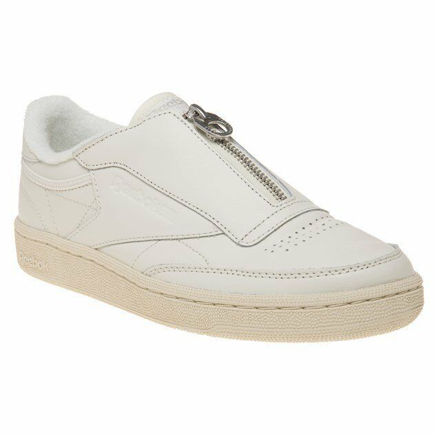 New Womens Reebok Leather White Club C 85 Zip Leather Reebok Trainers Court f4f7dc