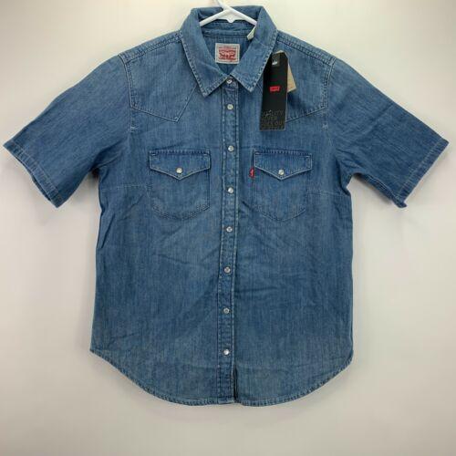 Levi/'s Womens Ultimate Western Short-Sleeve Denim Snap Button Down Shirt S