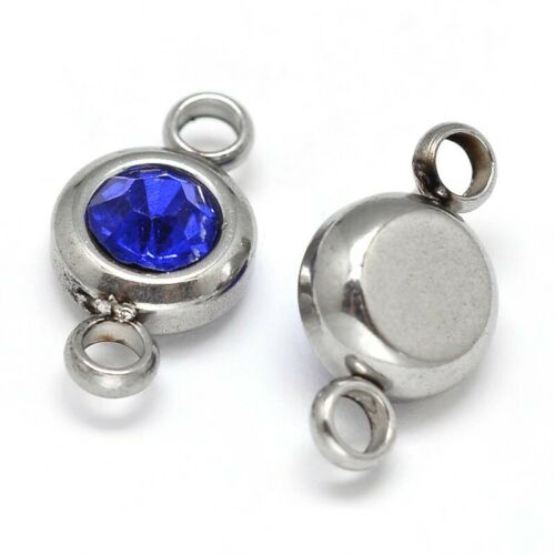 50PCS Flat Round 304 Stainless Steel Cubic Zirconia Links Charms Pendants