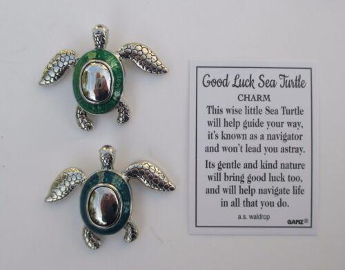 N twin 2x Green Blue Good Luck Sea Turtle Pocket token charm figurine Ganz mini