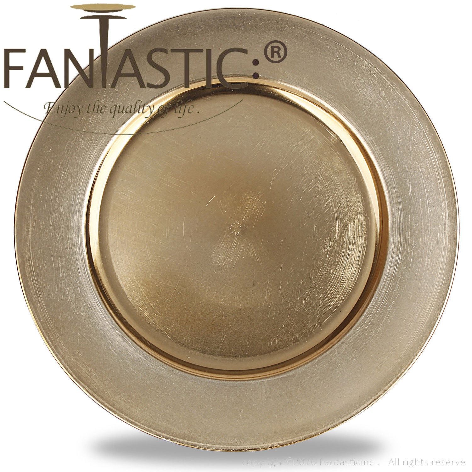 Fantastic )™ Round 13Inch Charger Plate With Metallic Finish ( Plain Pattern )