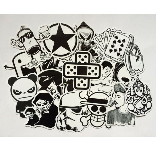 Mix Lot 60 PCS Black and White Cool DIY Stickers For Skateboard Laptop Car Decal