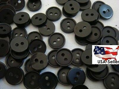 W571 Small 10mm 16L Black Polished 2 Hole Quality Shirt Buttons Button Crafts