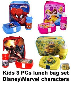 3PC-Childrens-Kids-Boys-Girls-School-Lunch-Bag-Bottle-Sandwich-Box-Disney-Marvel