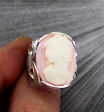 Antique Vintage Pink Conch Shell Cameo Ring in Sterling Silver Size 5 to 15