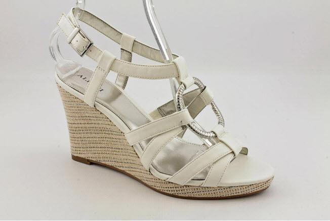 NIB Alfani Selma WEISS Strappy Wedge Heel Platform Sandaleen Schuhes 8.5 M (S226)