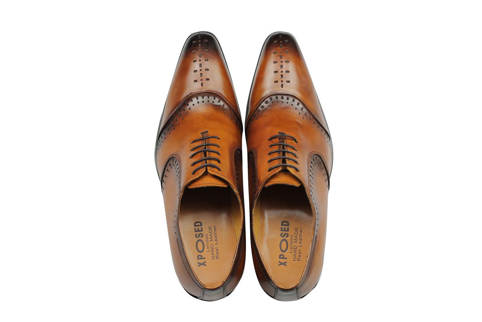 Uomo Real Formal Leder 2 Tone Tan Formal Real Lace up Dress Schuhes UK Größe 6 7 8 9 10 11 12 633093