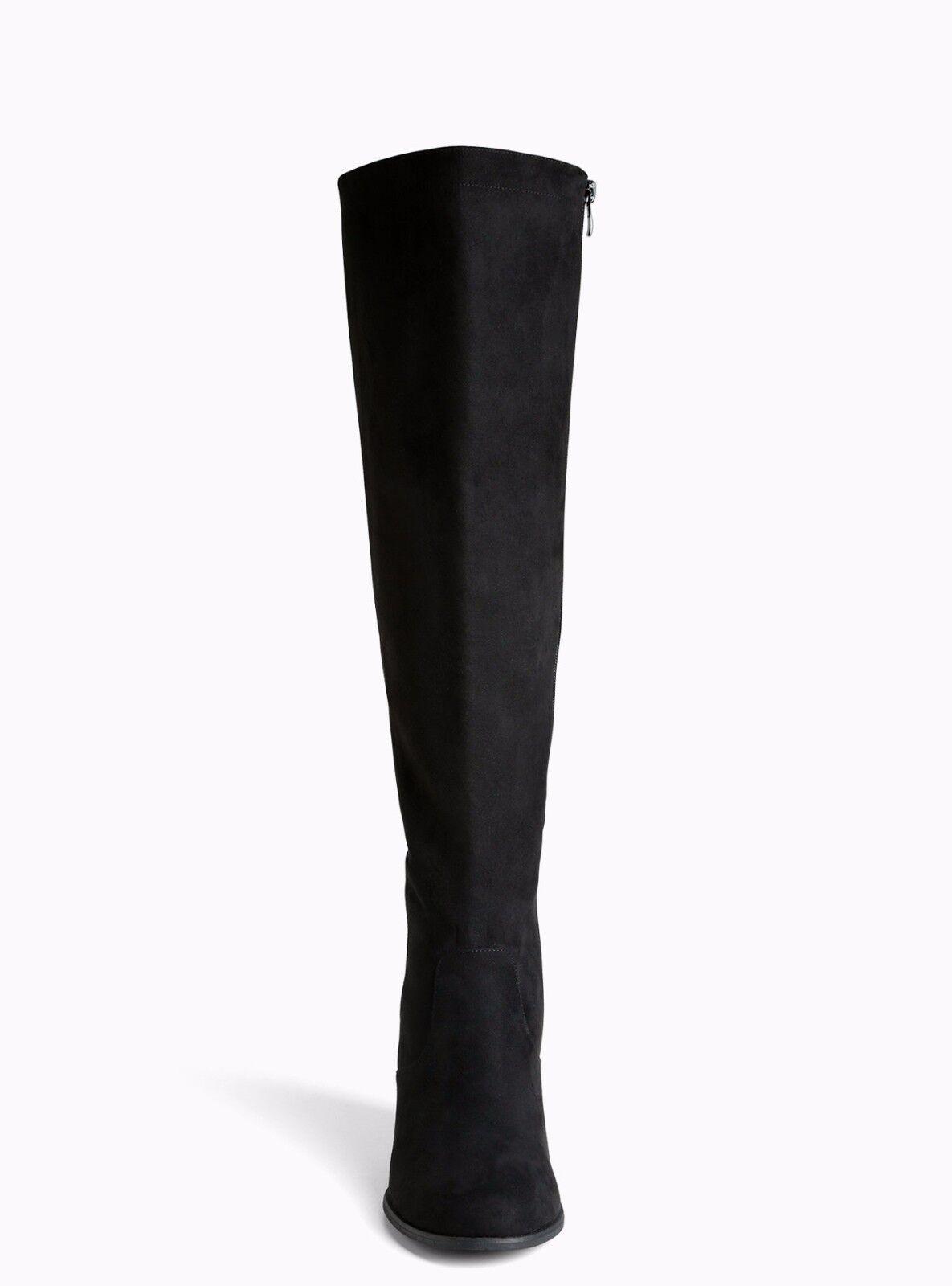 la dentelle de retour contre torrides bottes aux genoux les grandes grandes les largeurs & veau noir 11,5 b61105