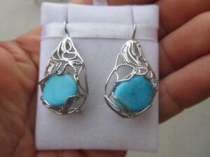 orecchini argento 925 turchese stile borbonico - Italia - orecchini argento 925 turchese stile borbonico - Italia