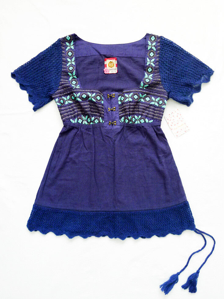 NWT FREE PEOPLE Bohemian Floral Embroidery Crochet Details Tunic Top Shirt Sz 2