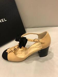 544af61093 CHANEL 17C Pearl Camellia T Strap Cap Toe Bow Block Heel Sandals ...