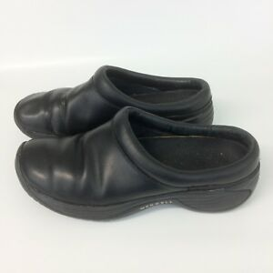 MERRELL-women-039-s-sz-7-Encore-Nova-clog-smooth-black-leather-slip-on-shoes-mules