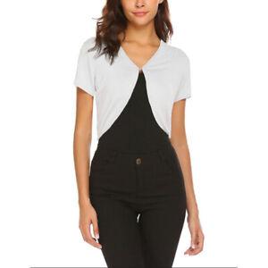 Women-039-s-Short-Sleeve-Open-Front-Cardigan-Cropped-Top-Shrug-Bolero-Jackets-H