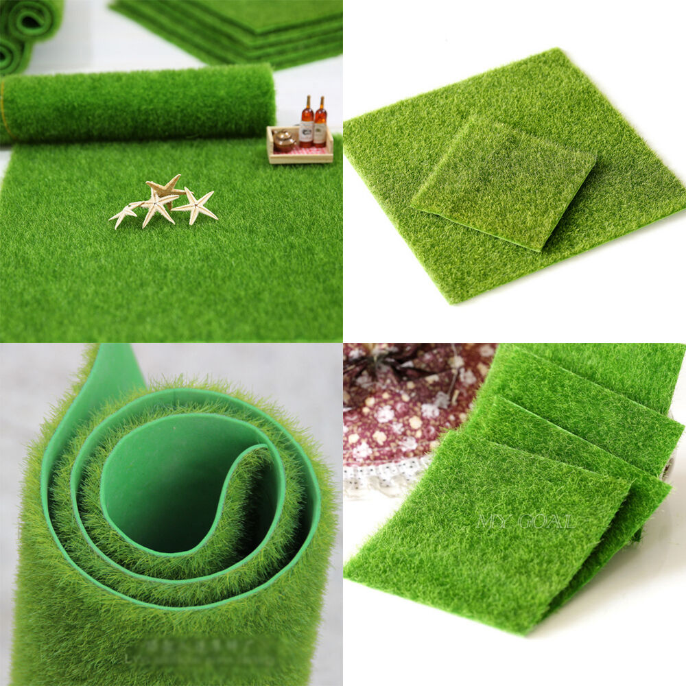 Artificial grass fake lawn miniature fairy garden ornament for Faux grass for crafts
