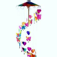 Butterfly and Hearts Mobile Wind Chime with a Parasol, Handmade Butterflies