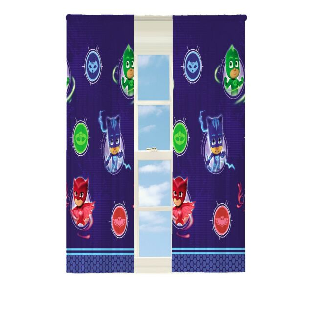 Pj Masks Kids Room Darkening Blue Window Curtain Panels