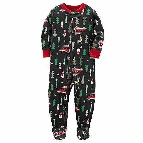 Carter/'s Christmas Tree Snowman 5T Reindeer Fleece Footed Pajama Sleeper