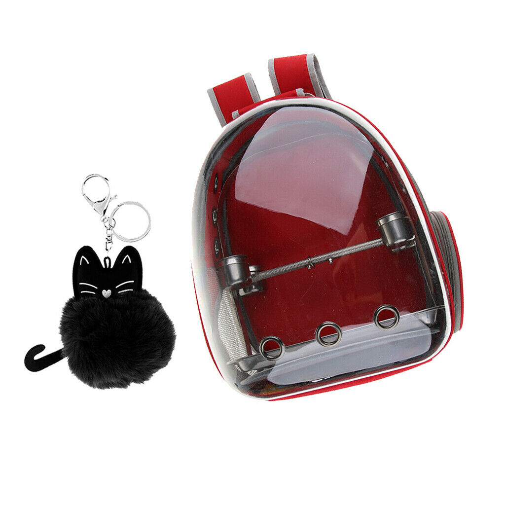 Clear Cover Parrot Bird Carrier Backpack with Perch & Feeder Pendant Red