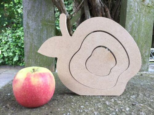 18mm Teacher Gift 20cm-22cm Wide Wooden MDF 3 Part Stacking//Nesting Apple