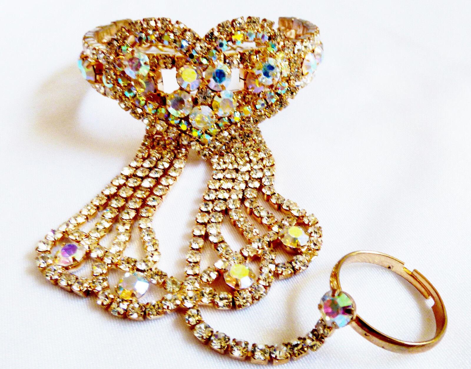 gold tone metal Aurora Borealis Crystal Rhinestones Heart Slave Bracelet & Ring