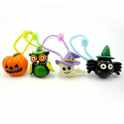 4pcs Halloween Pumpkin Spider Owl Ghost Hair Band Ponytail Holder Girls Kids