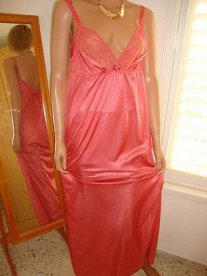 Coral Salmon Pink Silky Lacy Long Formal Length Bra Slip or Nightgown L-XXL BNWT
