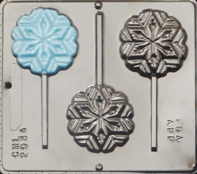 Snowflake Lollipop Chocolate Candy Mold FROZEN Movie Party Christmas  2034 NEW