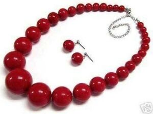Beautiful-6-14mm-Red-Coral-Round-Beads-Necklace-Earring-18-034-Set-JN47
