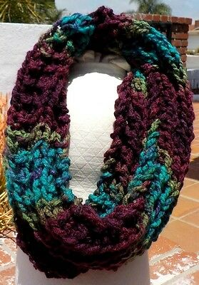 AQUA BURGUNDY GREEN CHUNKY SOFT COWL NECK LADIES SCARF WITH FREE SHIPPING