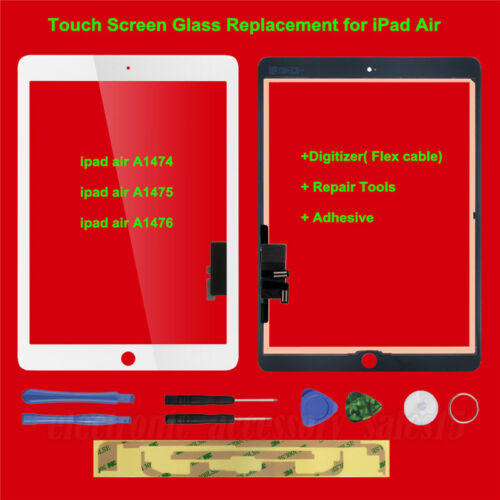 For iPad Air 1 Touch Screen Glass Lens Replacement Digitizer White+ Repair Tools