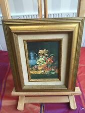 Peinture huile sur toile NATURE MORTE FRUITS encadrement doré!