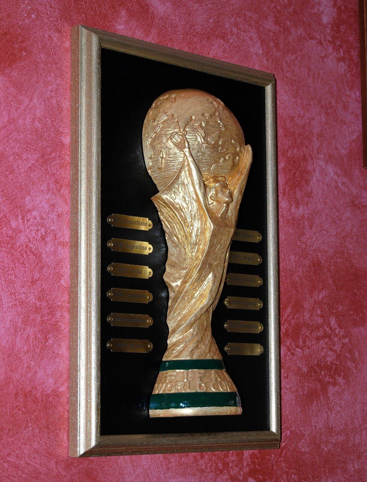 QUADRO ARTIGIANALE NUOVO COPPA TROFEO CALCIO MONDO CUP SOCCER FOOTBALL WORLD