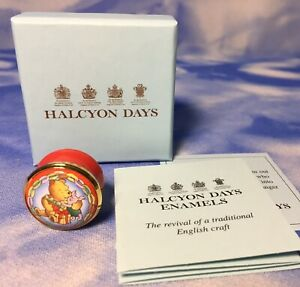 HTF-Halcyon-Days-Winnie-the-Pooh-amp-Piglet-Thank-You-034-Small-Round-Enamel-Box-EUC